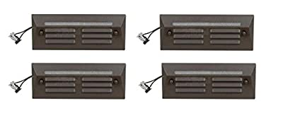 4 Pack Malibu / Proscapes 8608-0408-04 LED Full Brick Step Deck Lights, .3 watt, Low Voltage in Aged Brass Finish BY MALIBU DISTRIBUTION
