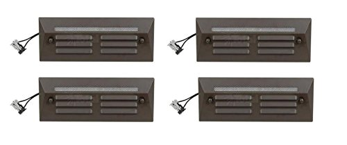 4 Pack Malibu / Proscapes 8608-0408-04 LED Full Brick Step Deck Lights, .3 watt, Low Voltage in Aged Brass Finish BY MALIBU DISTRIBUTION