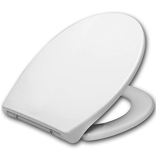 WOLTU #27 WC Sitz Toilettensitz mit Absenkautomatik, Toilettendeckel aus Duroplast, Fast Fix(Schnellbefestigung), Softclose Scharnier, Antibakteriell WS2586