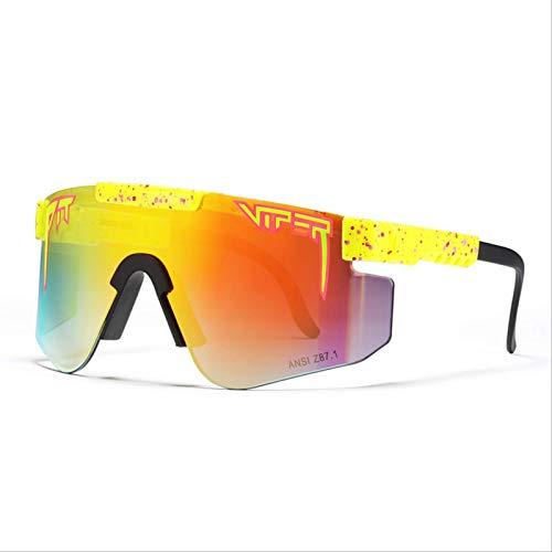ZSEXDR Gafas de sol Pit Viper Gafas de sol polarizadas de doble ancho con espejo azul Tr90 Marco Protección Uv400 Gafas de sol deportivas de ciclismo