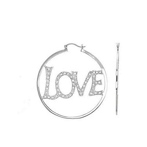 Pendientes de aro con diseño de corazón, 5 cm, plata maciza 925