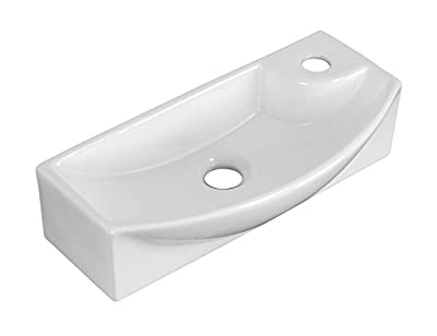 American Imaginations AI-6-1757 Wall Mount Rectangle Vessel for Single Hole Faucet, 18-Inch x 7-Inch, White