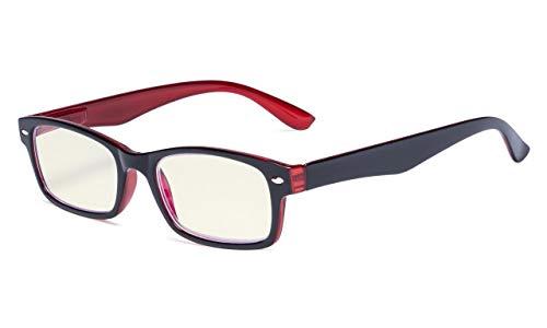 Eyekepper Computer-Lesebrille mit Federscharniere Bügle in UV-Schutz, Anti-Blau-Strahlen Blendschutz und kratzfest Gläser (Gelb getönte Gläser, in Schwarz-Rot Fassung)