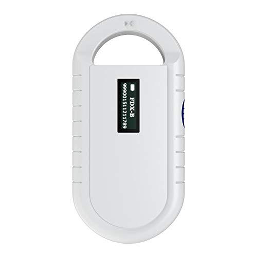 Escáner de microchip para mascotas Lector de microchip portátil de mano Lector de microchips de animales Escáner de microchip Lector de RFID universal para ISO 11784/11785, FDX-B e ID64 RFID (Blanco)