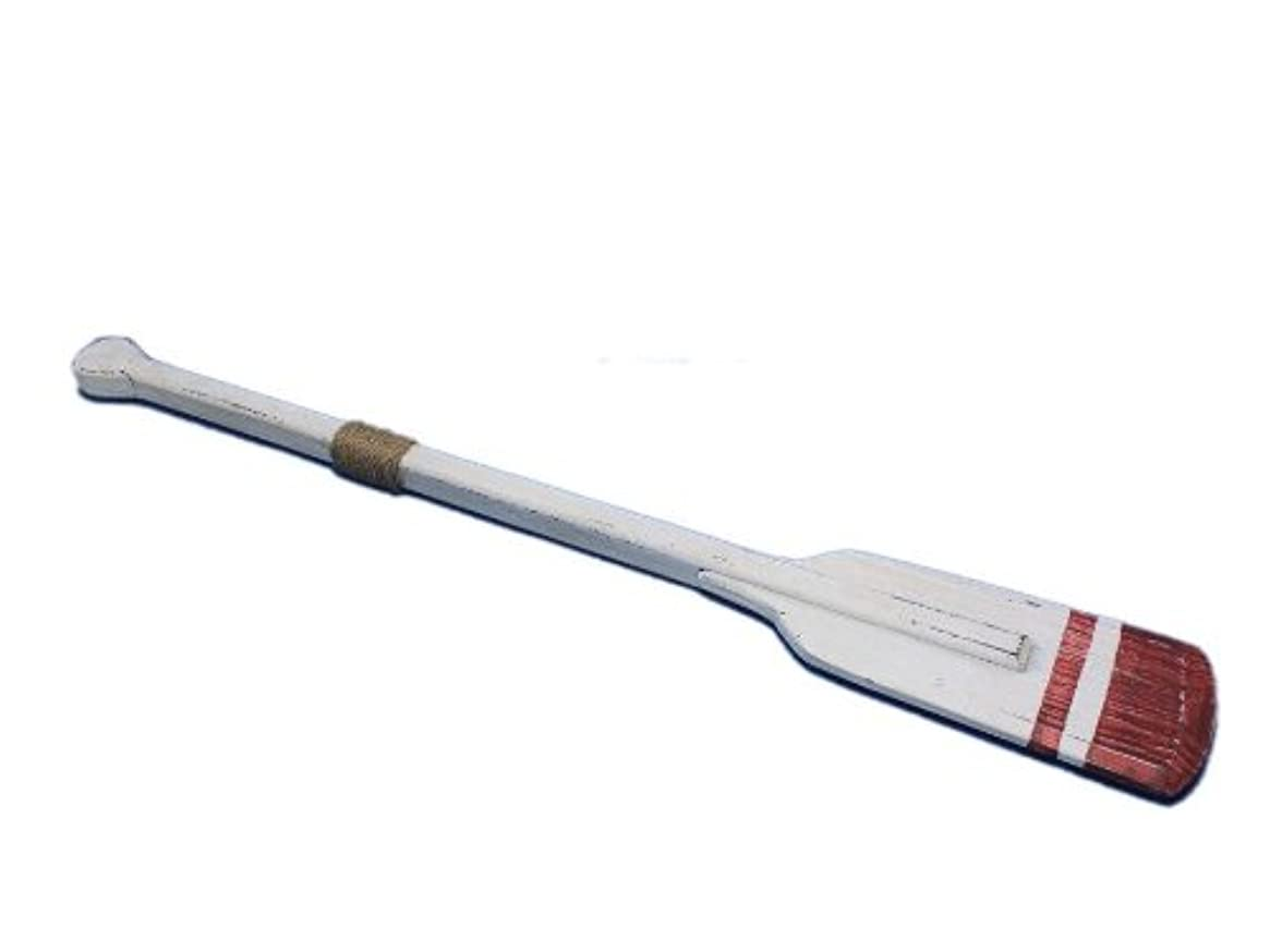 Hampton Nautical  Wooden Rustic Sunderland Squared Rowing Oar with Hooks, 36