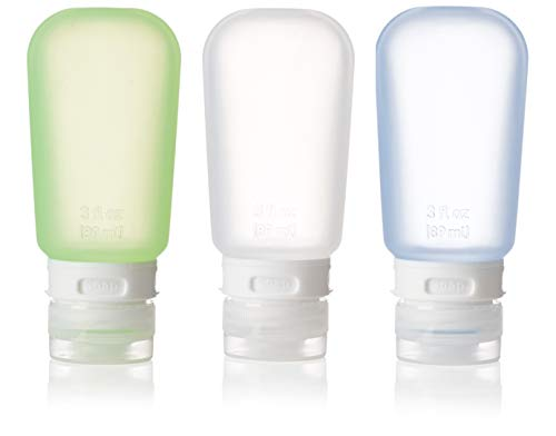 humangear GoToob 3-Pack Travel Bottle, Clear/Green/Blue, Large (3 oz)