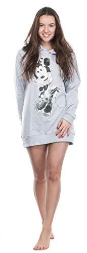 Brandsseller Sudadera larga con capucha para mujer, con motivos en estilo de Minnie Mouse. gris claro M