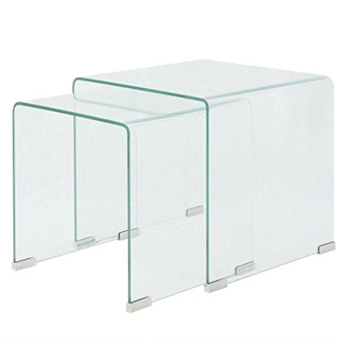 Vislone Set de 2 Multifuncional Mesas de Centro Apilables Nido de Salón Mesa de Cristal Mesita de Noche Mesa de Café Mesa Auxiliar de Vidrio de Seguridad Templado Claro ⭐