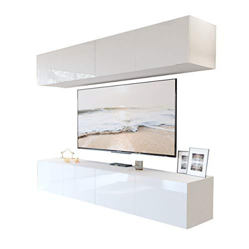 Lukmöbel Colgante I Wohnwand Wohnwand Set TV-Schrank Hängeschrank Weiß Hochglanz HG Fernsehschrank mit LED Beleuchtung und Push to Open System Sideboard Lowboard Wohnzimmer