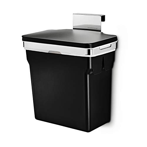 simplehuman, Black 10 Liter / 2.6 Gallon In-Cabinet Trash Can, Heavy-Duty Steel Frame, 2.6 gallons