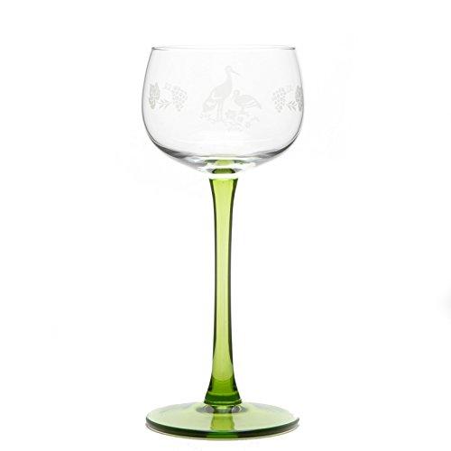 6 Verres à Vin dAlsace décor Cigogne Mat