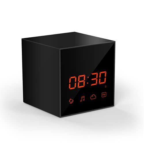 Telecamera con orologio da tavolo WiFi wireless, videocamera di rilevamento umano di sorveglianza di sicurezza domestica 1080P Supporto radio FM,Camera + 32g
