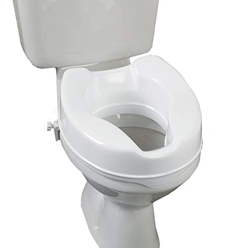 BESCO Raised Toilet Seat, 4 inch High Elevated Toilet Seat Locks onto Toilets,Easy-to-use, Portable Assistance Commode Seat with Sturdy Brackets, Medical Aid for Elderly, Disabled, Limited Mobility