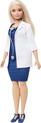 Barbie FXP00 - Kurvige Barbie Ärztin-Puppe mit Stethoskop und blondem Haar