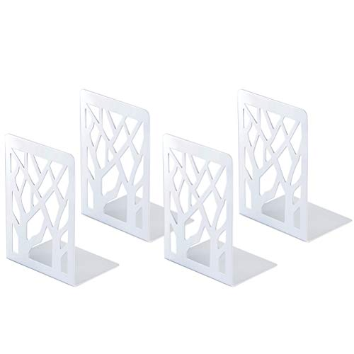 Book Ends, Bookends, Book Ends for Shelves, Bookends for Shelves, Bookend, Book Ends for Heavy Books, Book Shelf Holder Home Decorative, Metal Bookends White 2 Pair, Bookend Supports, Book Stoppers