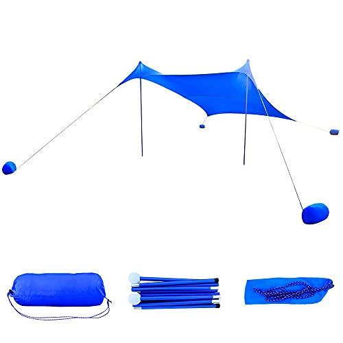 GEERTOP - Toldo Sombrilla de Playa Resistente al Viento - Protección Solar UPF 50+ Carpa Refugio Grande con 4 Bolsas de Arena de Anclaje (210 x 210 cm, Azul)