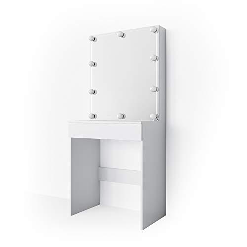 Vicco LED Schminktisch Melle Weiß Hocker Frisiertisch Frisierkommode Spiegel (Schminktisch mit LED)