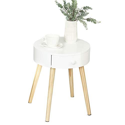 HOMCOM Nachttisch mit Schublade, Schlafzimmer Nachtkommode mit Beinen, runder Beistelltisch, Skandinavisches Design, Massivholz, Natur+Weiß, Ø38 x 46,7 cm
