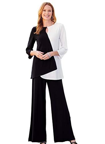 AmeriMark Women's Pantsuit – Silky Asymmetrical Top and Matching Wide Leg Pants