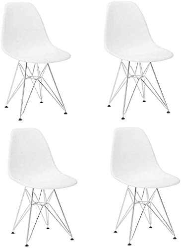 WYFX 4er-Set, Esszimmerstühle mit PP-Sitz und Metallbeinen, für Lounge-Büromöbel, leicht und langlebig, klassisches...