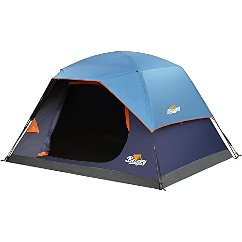 Beesky Tent-4-Person-Camping-Tents, Dark Room Family Tent Waterproof Windproof with Top Rainfly, Large Mesh Windows, Double Layer, Easy Set Up, Portable with Carry Bag, for All Seasons