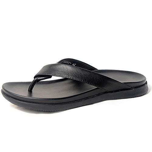 bjyxszd Hombre de Zapatillas Interior Sandalias Unisex,Sandalias de Thong Sandalias de Cuero Slippers Slippers Pool Pool Slipers Flip Flozs Casual Sports Zapatos al Aire Libre-Negro_43