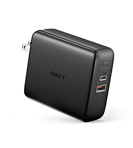 コンセント一体型 モバイルバッテリー 5000mAh USB充電器 急速充電 スマホ ノートパソコン AUKEY オーキー PowerDuo 5K PD20W ブラック/ホワイト PA-PD20 iPhone 12/Samsung S20/Google Pixel 4対応 USB-C USB-A タイプC 急速充電 Android (ブラック)