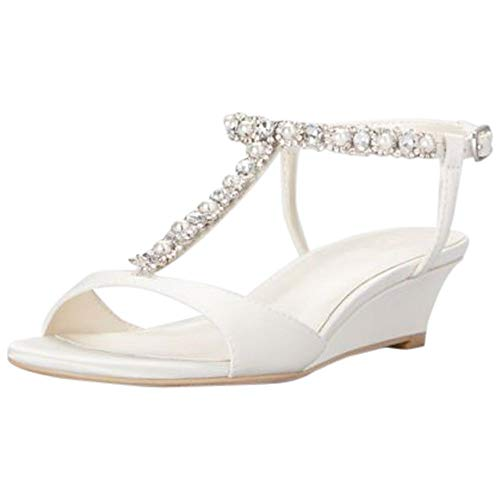 Low Wedge Crystal and Pearl T-Strap Sandals Style Payton, Ivory, 7