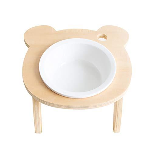 Cuenco Perro Gato elevada Cuencos de cerámica Comederos de Madera Bandeja, Alimentación Plato Food Bowl Agua de la Taza Raised alimentador de Animales Soporte Antideslizante Alimentadores