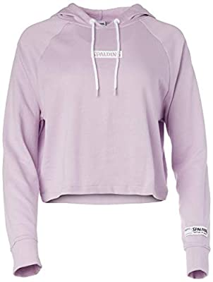 Spalding Women's Activewear Heritage Crop Hoodie Sweatshirt, Blue Lilac, M