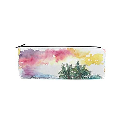 HaJie Estuche para lápices de playa con diseño de árbol de coco tropical con cremallera, bolsa organizadora para niñas, niños, mujeres y hombres
