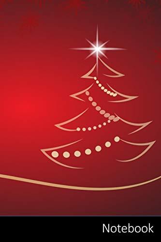 Notebook: Weihnachten, Weihnachtsbaum, Kulisse, Rot Notizbuch / Tagebuch / Schreibheft / Notizen - 6 x 9 Zoll (15,24 x 22,86 cm), 150 Seiten, glänzende Oberfläche.