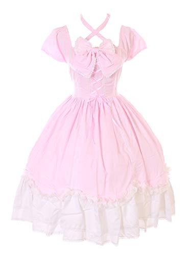Kawaii-Story JL-624-9 Rosa Schleife Rüschen Gothic Lolita Kurzarm Kleid Kostüm Cosplay (S-M)