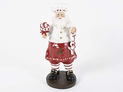 Pandecor Decorazione Natalizia in poliresina Babbo Natale Cuoco 11x9,5x25cm