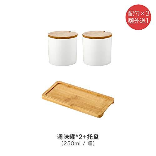 SGAN Cucina di casa Condimento in Ceramica Bottiglia di Olio Bottiglia di Olio Shaker di Sale Ciotola di Zucchero Condimento Scatola di Zucchero salato Set,A4