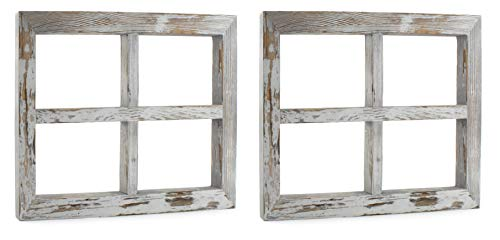 Darware Rustic Window Wood Frames (2-Pack, 11 x 16 Inch, Gray Washed); Window Pane Rustic Wall Decor for Photos, Pictures, Collages, and DIY Wall Art