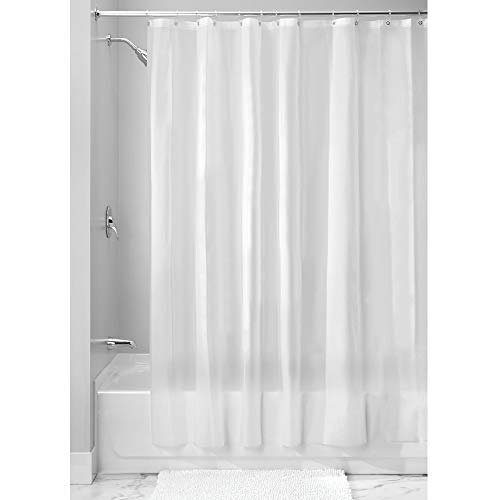 iDesign EVA Plastic Shower Curtain Liner, Mold and Mildew Resistant Plastic Shower Curtain for use Alone or With Fabric Curtain, 72 x 84 Inches, Frost