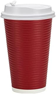 PREMIUM Disposable Hot Paper Cups With Lids, Double Wall & Ripple Insulation For Heat Protection, Maroon, 30 Count - 16 oz.