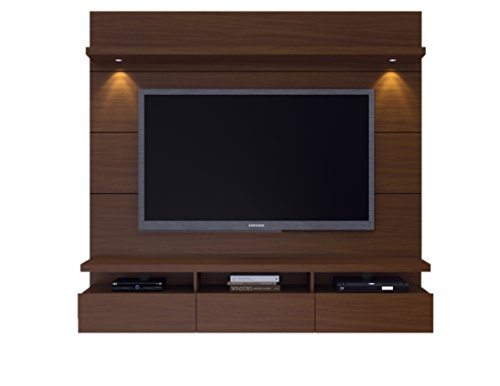 "Manhattan Comfort Cabrini Theater Panel 2.2 Collection TV Stand with Drawers Floating Wall Theater Entertainment Center, 85.62"" L x 16.73"" D x 67.24"" H, Nut Brown"