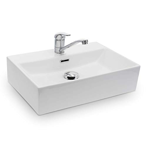 Vilstein Waschbecken Badezimmer, Aufsatzwaschbecken, Hängewaschbecken aus Keramik, eckig, 51cm x 36cm x 13cm, weiß