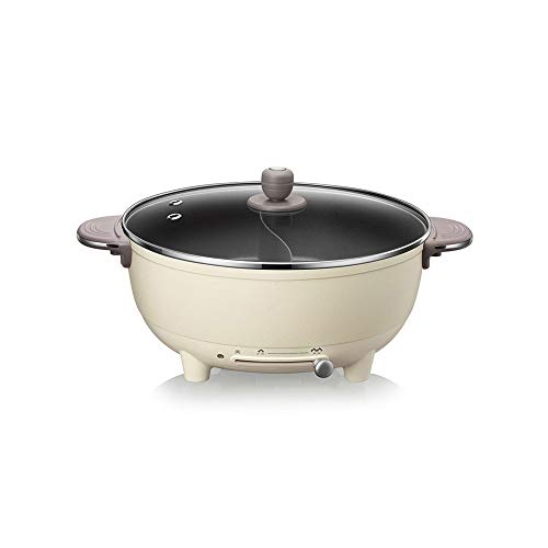 SXXYTCWL Pote eléctrico redondo Aleación de ollas de cocción eléctrica redonda Capítulo para el hogar Enchufe de gran capacidad Ajustable Temperatura integrada Pote antiadherente y fácil de limpiar ol