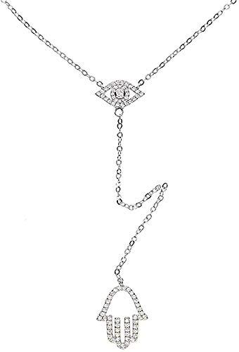 Collar, Collar, Colgante de Mano turca, Micro Pave Clear Cz Lariat, Forma de Y, Color Dorado, Impresionante Collar de Mujer, Regalo, Collar para niñas y niños