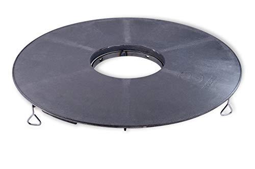 Moesta-BBQ 10658 - BBQ Disk Feuerplatte – Plancha 6mm Gusseisen-Platte inkl. Höhenversteller für Kugel-Grill/Grillfass