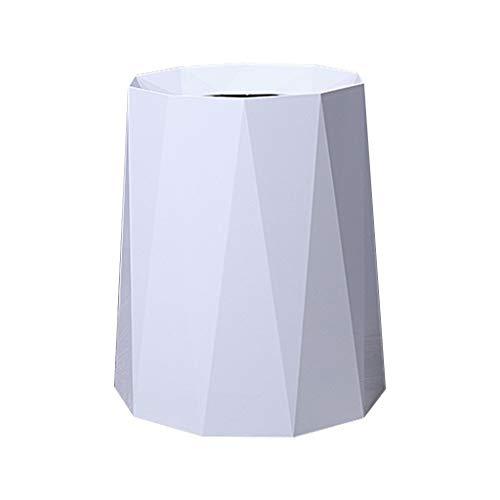Xiaoli Cubo de Basura Hogar Creativo Papelera de Basura Sala de Estar Cocina Dormitorio Baño Oficina Papelera de Basura Descubierta 8L / 12L Papeleras (Color : White, Size : M-12L)