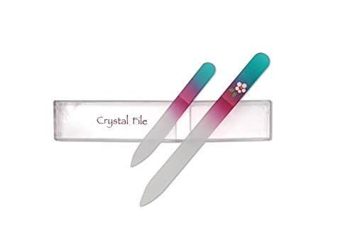 """Crystal Glass Nail File Set , 5.5"""" File and 3.5"""" File, Free Carrying Case From Sassella"""