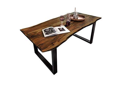 SAM Esszimmertisch 160x85 cm Quinn, echte Baumkante, nussbaumfarben, massiver Esstisch aus Akazienholz, Metallbeine Schwarz, Baumkantentisch