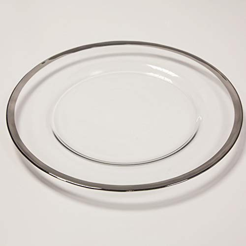 Glass Charger Plate 15 Designs Christmas Tableware Wedding Plates Events Party Decor Christmas Dinner (Silver Metallic Rim)