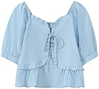 Wxcgbdx Womens T Shirts, Summer Sweet Shirt Women's Square Collar Short-sleeved Solid Color Blouse Summer Lace-Up Ears Sli...