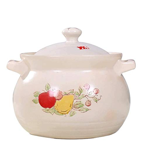 XJJZS Ceramic Casserole Heat-Resistant Clay Pot Flower Pattern Earthen Pot with Two Handle Japanese Painting Cookware with Lid for Kitchen Soup Stew