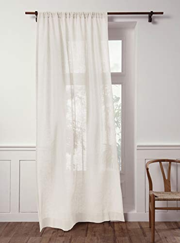 Solino Home 100% Pure Linen Sheer Curtain – 52 x 96 Inch Ivory Rod Pocket Window Panel – Handcrafted from European Flax